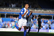Birmingham City's Jesse Lingard celebrates after he scores his sides first goal during the Skybet championship match, Birmingham city v Sheffield Wednesday at St.Andrews in Birmingham, England on Sat 21st Sept 2013. pic by Jeff Thomas/Andrew Orchard sports photography