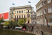 Winkel van Sinkel historic Oudegracht canal buildings, Utrecht, Netherlands