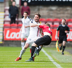 Falkirk's Lee Miller and Dunfermline's Andy Geggan have a wee tussle. Dunfermline 1 v 2 Falkirk, Scottish Championship game played 22/4/2017 at Dunfermline's home ground, East End Park.