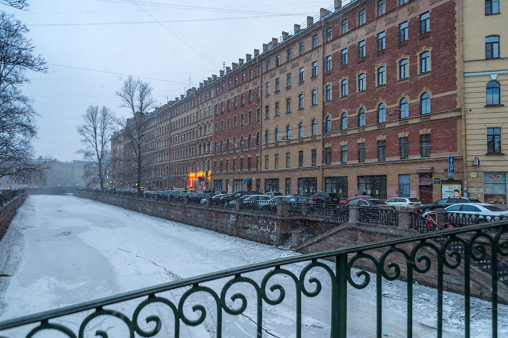 ST. PETERSBURG - CIRCA MARCH 2013:  Street view during a snow storm in St. Petersburg, circa March 2013. This is a tourist attraction with 221 museums, 2000 libraries, and 80  plus theaters within the city.
