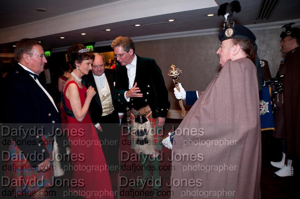 DAVID REID; IONA DUCHESS OF ARGYLL; DR. LARS AHRELL; VISCOUNT DUPPLIN, 2009 Royal Caledonian Ball in aid of various Scottish charities , Great Room, Grosvenor House. London. 1 May 2009.