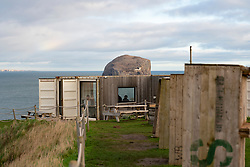 Drift cafe overlooking Bass Rock near North Berwick in East Lothian, Scotland, UK