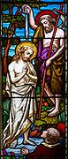 Stained glass east window, 1866 H Hughes, Brettenham church, Suffolk, England, UK, Baptism of Jesus Christ by Saint John