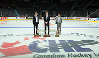 REGINA, SK - MAY 26: Sportsman of the Year Aleksi Heponiemi of Swift Current Broncos, Goaltender of the Year Carter Hart of the Everett Silvertips and Top scorer Jayden Halbgewachs of Moose Jaw Warriors at the Brandt Centre on May 26, 2018 in Regina, Canada. (Photo by Marissa Baecker/CHL Images)