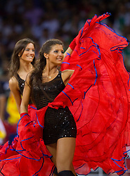 Russian Cheerleaders perform during the Preliminary Round - Group B basketball match between National teams of USA and Slovenia at 2010 FIBA World Championships on August 29, 2010 at Abdi Ipekci Arena in Istanbul, Turkey.  (Photo by Vid Ponikvar / Sportida)