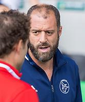 AMSTELVEEN -  coach Jesse Mahieu (Pinoke)     tijdens   hoofdklasse hockeywedstrijd mannen,  AMSTERDAM-PINOKE (1-3) , die vanwege het heersende coronavirus zonder toeschouwers werd gespeeld. COPYRIGHT KOEN SUYK