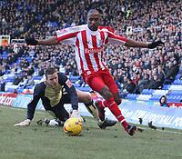 Photo: Mark Stephenson.<br /> Birmingham City v Stoke City. Coca Cola Champinship. 11/02/2007.Stoke's Ricardo Fuller beats Birmingham's keeper Colin Doyel but wastes the chance to score