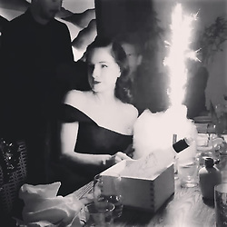 """Dita Von Teese releases a photo on Instagram with the following caption: """"Early birthday surprise @ROKUSunset Thank you,\n@IDGRestaurants\n@Warwick_LA and\n @ShaeSavin \ud83d\udc97 #candyflosscake"""". Photo Credit: Instagram *** No USA Distribution *** For Editorial Use Only *** Not to be Published in Books or Photo Books ***  Please note: Fees charged by the agency are for the agency's services only, and do not, nor are they intended to, convey to the user any ownership of Copyright or License in the material. The agency does not claim any ownership including but not limited to Copyright or License in the attached material. By publishing this material you expressly agree to indemnify and to hold the agency and its directors, shareholders and employees harmless from any loss, claims, damages, demands, expenses (including legal fees), or any causes of action or allegation against the agency arising out of or connected in any way with publication of the material."""