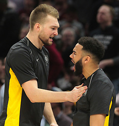 April 29, 2018 - Cleveland, OH, USA - Indiana Pacers center Domantas Sabonis and Cory Joseph celebrate a lead against the Cleveland Cavaliers in the third quarter of Game 7 during the Eastern Conference First Round series on Sunday, April 29, 2018 at Quicken Loans Arena in Cleveland, Ohio. The Cavs won the game, 105-101. (Credit Image: © Leah Klafczynski/TNS via ZUMA Wire)