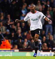 Photo: Daniel Hambury.<br />West Ham United v Liverpool. The Barclays Premiership. 26/04/2006.<br />Liverpool's Djibril Cisse celebrates his goal.