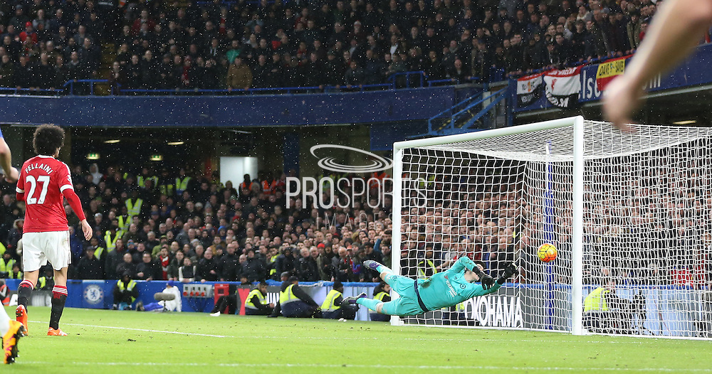 Wayne Rooney of Manchester United hits an overhead kick at goal during the Barclays Premier League match between Chelsea and Manchester United at Stamford Bridge, London, England on 7 February 2016. Photo by Phil Duncan.