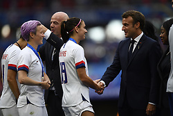 July 7, 2019 - Lyon, France - Emmanuel Macron, Head of State France whit Alex Morgan and Megan Rapinoe of United States  after the 2019 FIFA Women's World Cup France Final match between The United State of America and The Netherlands at Stade de Lyon on July 7, 2019 in Lyon, France. (Credit Image: © Jose Breton/NurPhoto via ZUMA Press)