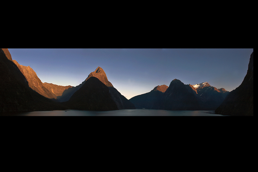Milford Sound Panorama. Milford Sound Panorama. The cruise ship entering the scene makes for a great indication of scale.