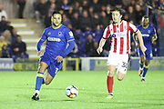 AFC Wimbledon attacker Harry Forrester (11) dribbling during the The FA Cup match between AFC Wimbledon and Lincoln City at the Cherry Red Records Stadium, Kingston, England on 4 November 2017. Photo by Matthew Redman.