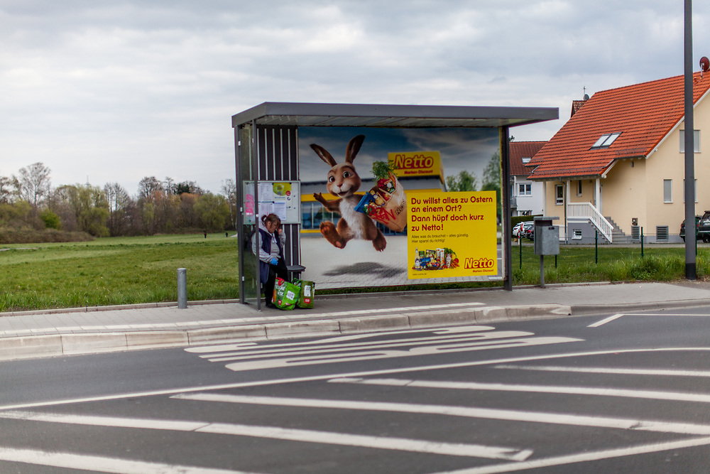 Advertisement for a grocery store chain in Stierstadt which belongs to the city of Oberursel.