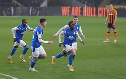 Siriki Dembele of Peterborough United celebrates scoring his goal against Hull City - Mandatory by-line: Joe Dent/JMP - 24/10/2020 - FOOTBALL - KCOM Stadium - Hull, England - Hull City v Peterborough United - Sky Bet Championship