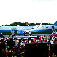 President Donald Trump addresses his supporters with Air Force One as a backdrop during a rally at the Arnold Palmer Regional Airport in Latrobe, Pennsylvania  on Thursday, September 3, 2020.  Photo by Archie Carpenter/UPI