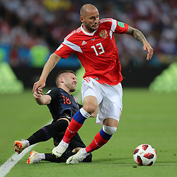 SOCHI, July 7, 2018  Fedor Kudriashov (R) of Russia vies with Ante Rebic of Croatia during the 2018 FIFA World Cup quarter-final match between Russia and Croatia in Sochi, Russia, July 7, 2018. (Credit Image: © Yang Lei/Xinhua via ZUMA Wire)