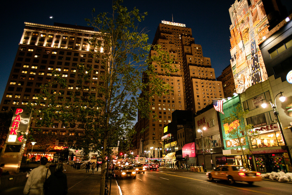 34th street with New Yorker Hotel on the background.