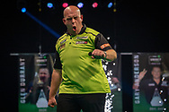 Michael van Gerwen (Netherlands) celebrates, reacts, beats Jose de Sousa (Portugal) (not in picture) during the Betway Premier League Darts Night Eight at Marshall Arena, Milton Keynes, United Kingdom on 21 April 2021