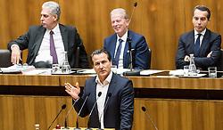 13.10.2016, Parlament, Wien, AUT, Parlament, Nationalratssitzung, Sitzung des Nationalrates mit Generaldebatte über das Bundesfinanzgesetz 2017, im Bild Klubobmann Team Stronach Robert Lugar vor Bundesminister für Finanzen Hans Jörg Schelling (ÖVP), Vizekanzler und Minister für Wirtschaft und Wissenschaft Reinhold Mitterlehner (ÖVP) und Bundeskanzler Christian Kern (SPÖ) // Leader of the parliamentary group TS Robert Lugar in front of Austrian Minister of Finance Hans Joerg Schelling, Vice Chancellor of Austria and Minister of Science and Economy Reinhold Mitterlehner and Federal Chancellor of Austria Christian Kern during meeting of the National Council of austria according to government budget 2017 at austrian parliament in Vienna, Austria on 2016/10/13, EXPA Pictures © 2016, PhotoCredit: EXPA/ Michael Gruber