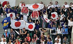 09.07.2011, Arena im Allerpark Wolfsburg , Wolfsburg ,  GER, FIFA Women Worldcup 2011, Viertelfinale ,   Germany (GER) vs Japan (JPN)  im Bild  .japanische Fans jubeln auf der Tribüne nach dem Siegtreffer zum 1:0 .//  during the FIFA Women Worldcup 2011, Quarterfinal, Germany vs Japan  on 2011/07/09, Arena im Allerpark , Wolfsburg, Germany.  .EXPA Pictures © 2011, PhotoCredit: EXPA/ nph/  Hessland       ****** out of GER / CRO  / BEL ******