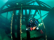 KISS Spirit rebreather diver at the Pump House structure site at Dutch Springs Quarry, Bethlehem, Pennsylvania