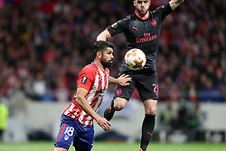 May 3, 2018 - Madrid, Spain - DIEGO COSTA of Atletico de Madrid duels for the ball with CALUM CHAMBERS of Arsenal FC during the UEFA Europa League, semi final, 2nd leg football match between Atletico de Madrid and Arsenal FC on May 3, 2018 at Metropolitano stadium in Madrid, Spain (Credit Image: © Manuel Blondeau via ZUMA Wire)
