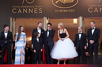 Barry Keoghan, Raffey Cassidy, Sunny Suljic, Yorgos Lanthimos, Colin Farrell, Ed Guiney and Andrew Lowe at The Killing of a Sacred Deer gala screening at the 70th Cannes Film Festival Monday 22nd May 2017, Cannes, France. Photo credit: Doreen Kennedy