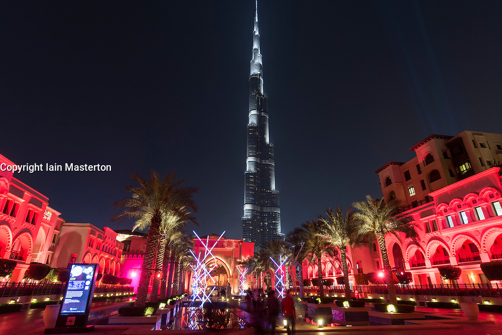Mikado light sculpture by Edouard Levine illuminating Souk al Bahar at opening night of the inaugural Dubai Festival of Lights held in Downtown Dubai 2014