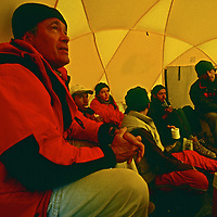 Archaeologist Dr. Johan Reinhard meets with his team during an expedition to 22,110-foot Volcan Llullaillaco in northern Argentina, where they later found the world's highest mummies from an ancient Inca sacrifice.