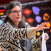011514       Cable Hoover<br /> <br /> Daniella Scalice from the NASA Astrobiology Institute asks questions of workshop attendees during a workshop at Navajo Technical University in Crownpoint Wednesday.