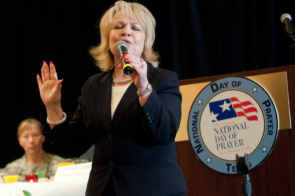 Mark Matson for American-Statesman (5/4/10)  The Texas State Prayer Breakfast, part of the National Day of Prayer activites,  was held Tuesday morning at the Doubletree Hotel in Austin. Soloist Becky Fender sang three selections at the event.