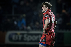Edinburghs' James Johnstone looks on during the game.<br /> <br /> Photographer Simon Latham/Replay Images<br /> <br /> Guinness PRO14 - Dragons v Edinburgh - Friday 23rd February 2018 - Eugene Cross Park - Ebbw Vale<br /> <br /> World Copyright © Replay Images . All rights reserved. info@replayimages.co.uk - http://replayimages.co.uk