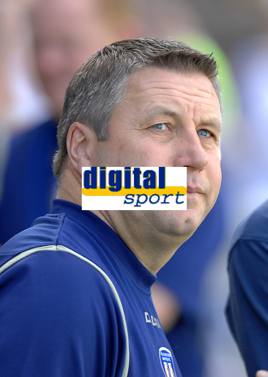 Photo: Ashley Pickering.<br /> Colchester United v Charlton Athletic. Coca Cola Championship. 15/09/2007.<br /> Colchester manager Geraint Williams watches the game closely from the dugout