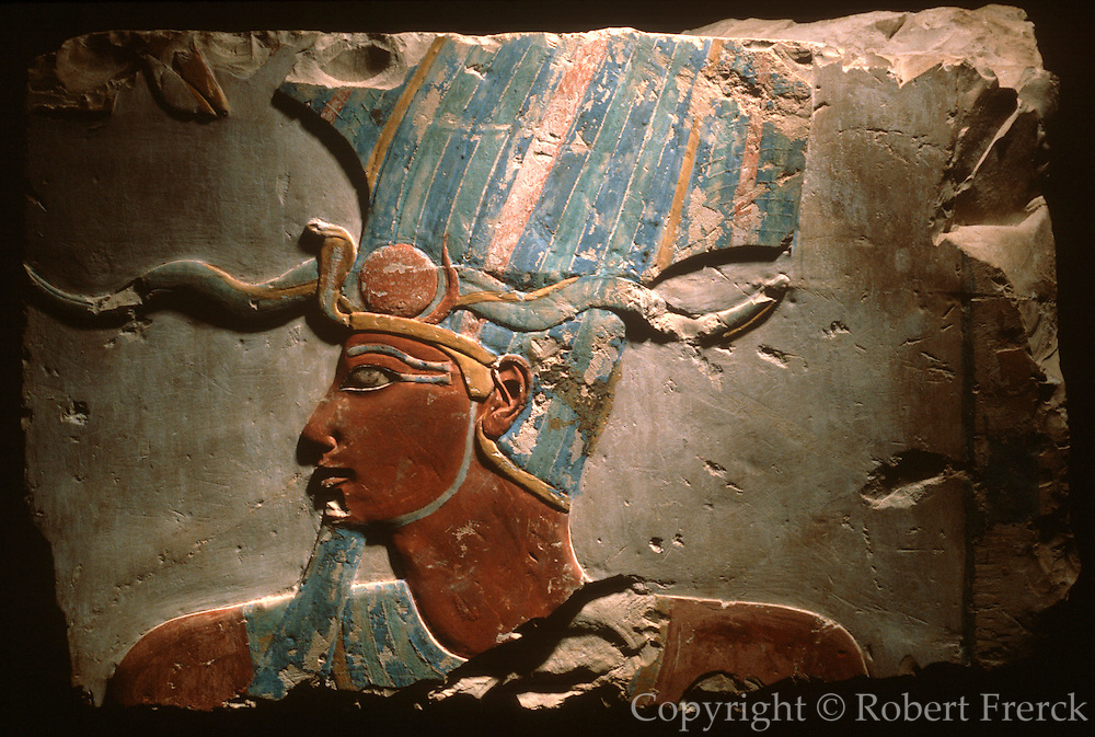 EGYPT, ANCIENT MONUMENTS, LUXOR MUSEUM painted relief of King Tuthmosis III, with the Atef Crown, from the New Kingdom, 1490-1436 BC