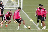 Real Madrid's Karim Benzema, Raphael Varane, Fabio Coentrao and Sami Khedira during training session.January 30,2015.(ALTERPHOTOS/Acero)