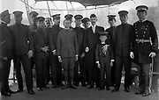 Cuban Officers of the ship Cuba in New York to attend unveiling ceremonies for memorial at entrance to Central Park, New York, to the battleship Maine which exploded in Havana harbour in Spanish-American War 1898. May 1913.