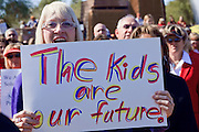 Feb 14, 2009 -- PHOENIX, AZ: NANCY WRIGHT, from Scottsdale, protests planned budget cuts in Arizona public education at the State Capitol Saturday. About 1,000 people from across Arizona came to the State Capitol Saturday, Feb 14, to rally in favor of state funding for public schools and against budget cuts planned by the Arizona State Legislature. Arizona ranks 49th out of 50 states in per capita spending on public schools. Arizona is facing a massive budget deficit and legislators are expected to cut many state services, including public schools, to balance the budget. Photo by Jack Kurtz / ZUMA Press