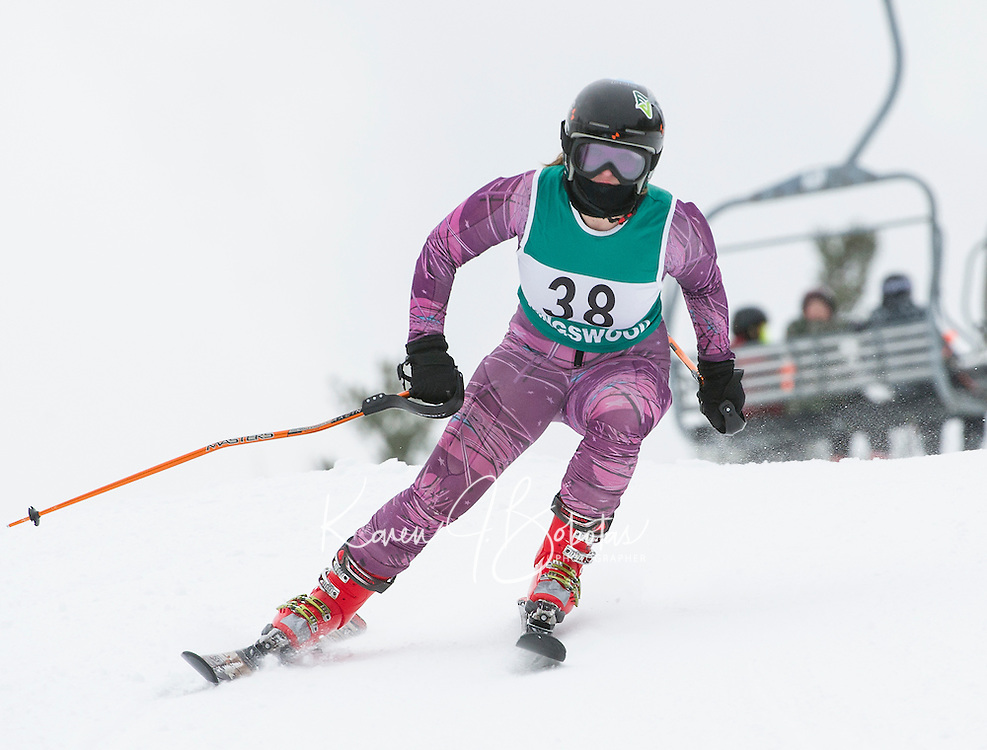 Kingwood's Kelsey Buck navigates the giant slalom course during the Division III alpine race at Gunstock on Friday morning.  (Karen Bobotas/for the Laconia Daily Sun)