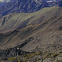 NEPAL, HIMALAYA.  Ancient fortress village in rainshadowed mountains near Muktinath, north of Annapurna.
