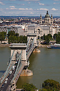 The Széchenyi Chain Bridge (Hungarian: Lánchíd) is a suspension bridge that spans the River Danube between Buda and Pest, the western and eastern sides of Budapest, the capital of Hungary. It was the first permanent bridge across the Danube in Budapest, and was opened in 1849.