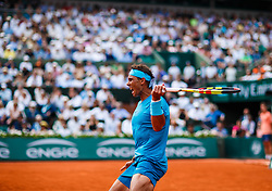 June 10, 2018 - Paris, U.S. - PARIS, FRANCE - JUNE 10:  RAFAEL NADAL (ESP)  during the French Open on June 10, 2018, at Stade Roland-Garros in Paris, France.(Photo by Chaz Niell/Icon Sportswire) (Credit Image: © Chaz Niell/Icon SMI via ZUMA Press)
