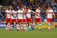 Rotherham United defender Clark Robertson (15) celebrating after scoring goal to make it1-2 during the EFL Sky Bet League 1 match between AFC Wimbledon and Rotherham United at the Cherry Red Records Stadium, Kingston, England on 3 August 2019.