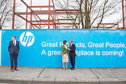 03/02/2014 HP Ireland today announced the formal commencement of the construction phase of its new 89,000 sq. ft. office building in Ballybrit, Galway, at a ceremony attended by An Taoiseach, Enda Kenny, TD. <br /> The project is expected to be one of the largest construction projects in Galway in recent times, and is likely to create up to 200 construction jobs. <br /> Pictured at the event were: Sean Kyne TD and  Senator Hildegarde Naughton with An Taoiseach Enda Kenny TD at a brick laying ceremony at HP . Photo:Andrew Downes.