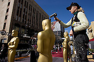 One day before the Academy Awards. The March of the Oscars Parade. 50 Oscar Statuettes were walked down the red carpet by ICF film students. This is the first year of this ceremony outside the Kodak Theater.