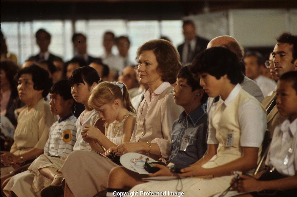 Rosalynn and Amy Carter attend an event in Japan in July 1979<br /> <br /> Photograph by Dennis Brack<br /> bb45