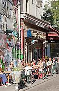 A bistro in the bohemian neighbourhood of Belleville in Paris, France