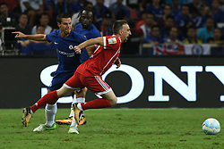 July 25, 2017 - Singapore - FRANCK RIBBERY of Bayern Munich is tripped during the International Champions Cup soccer match between Chelsea and Bayern Munich in Singapore's National Stadium. (Credit Image: © Then Chih Wey/Xinhua via ZUMA Wire)