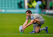 Sale Sharks fly-half AJ McGinty lines up a kick during a Gallagher Premiership Round 13 Rugby Union match, Saturday, Mar. 13, 2021, in Northampton, United Kingdom. (Steve Flynn/Image of Sport)